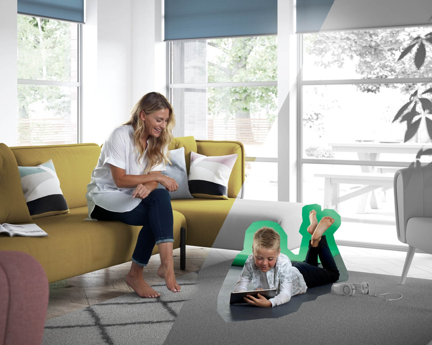 family living room editorial CGI