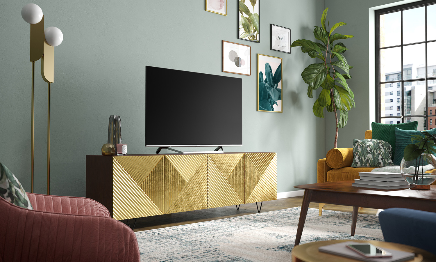 living room TV product marketing CGI