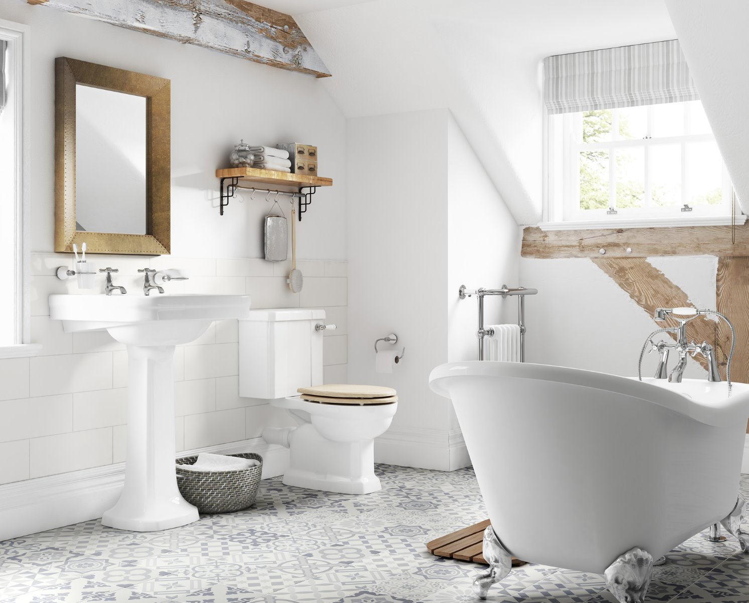 exposed beans CGI bathroom lifestyle traditional