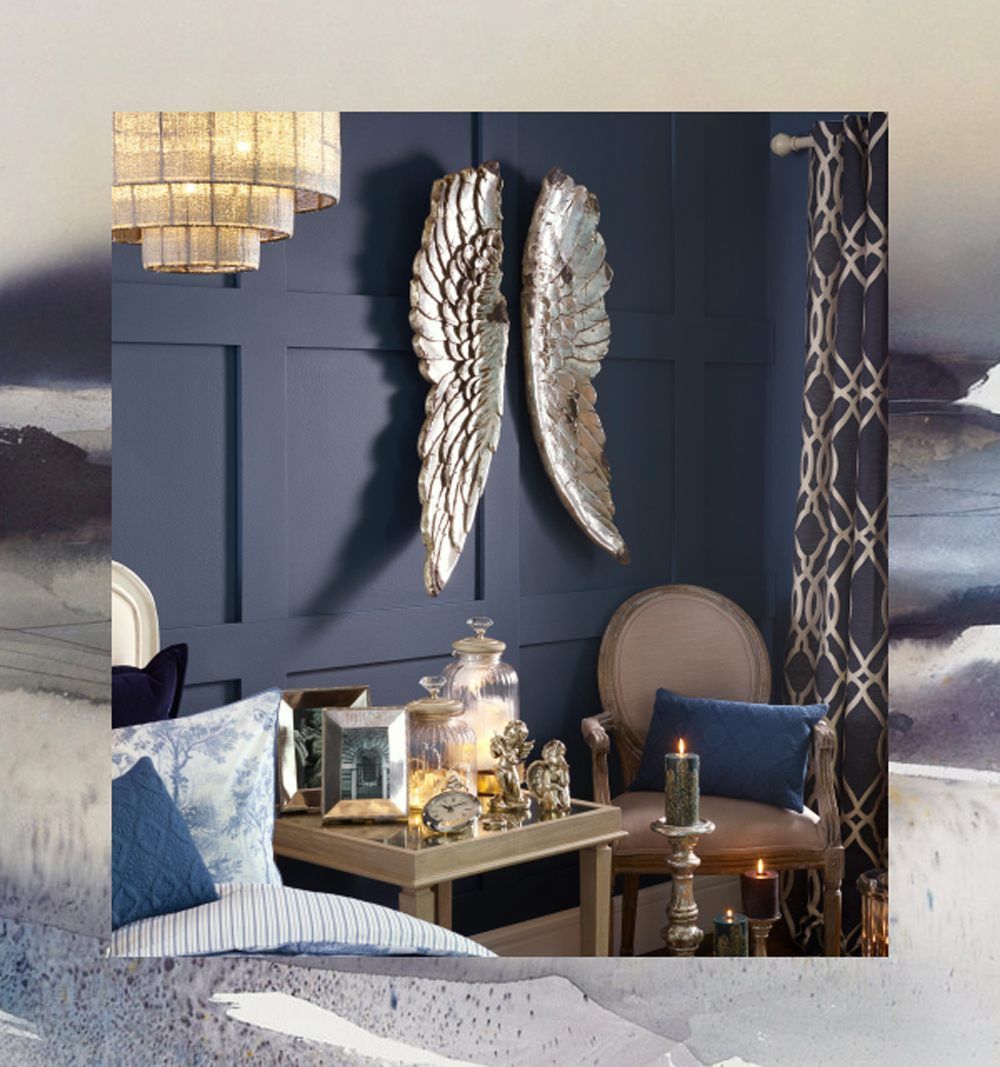 silver deep blue interior design bedroom cosy2