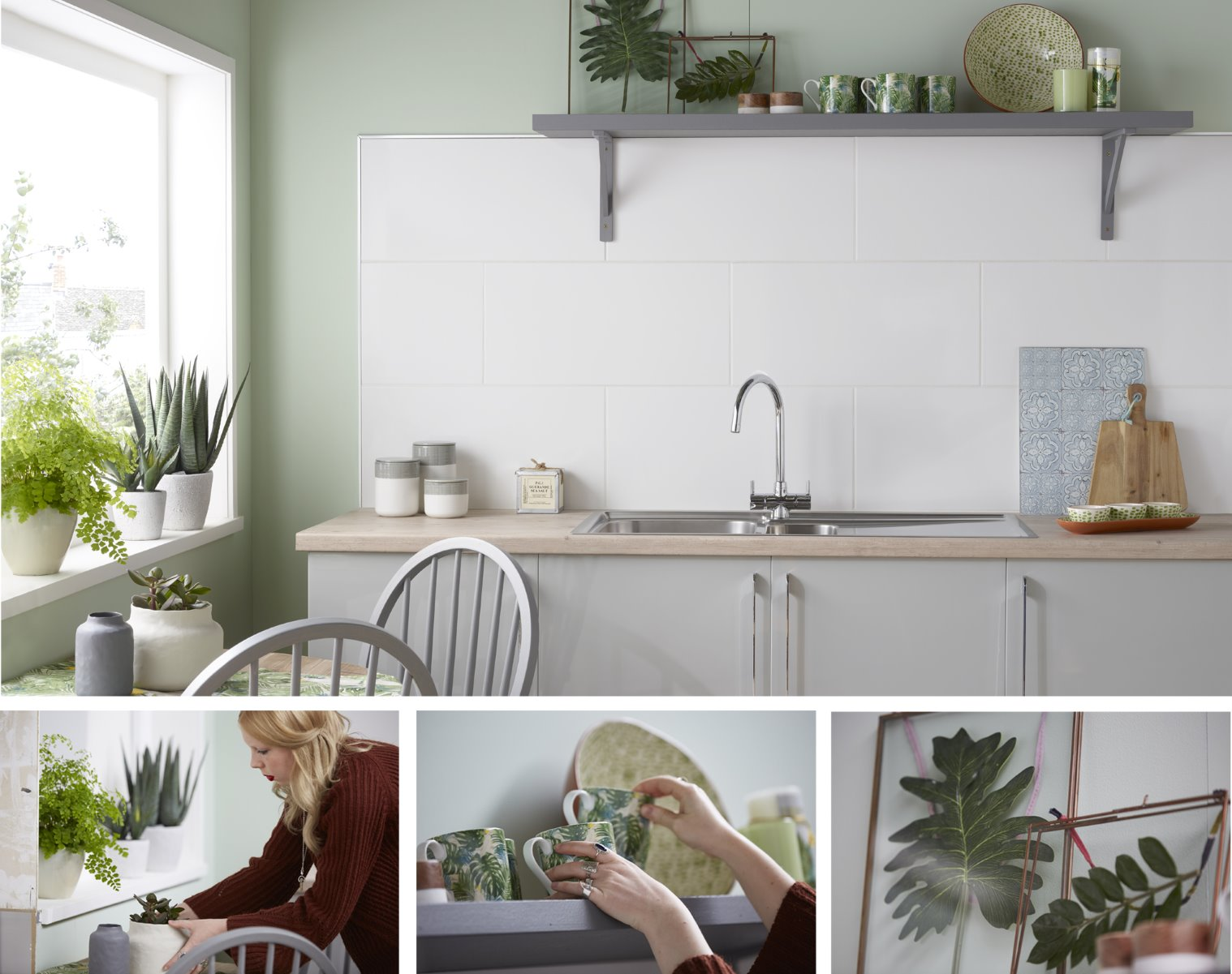 natural kitchen style botanical white tiles photography