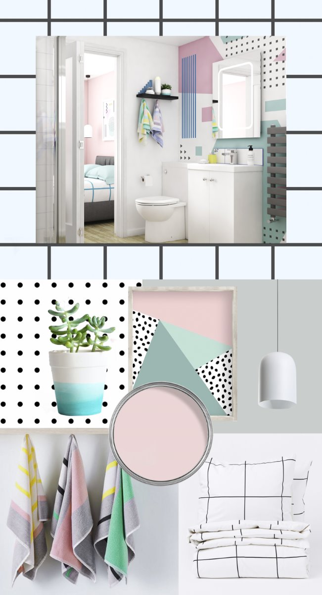 Memphis interior design trend bathroom mood board