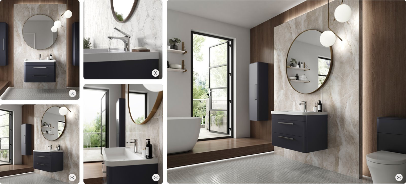 multiple bathroom product shots CGI