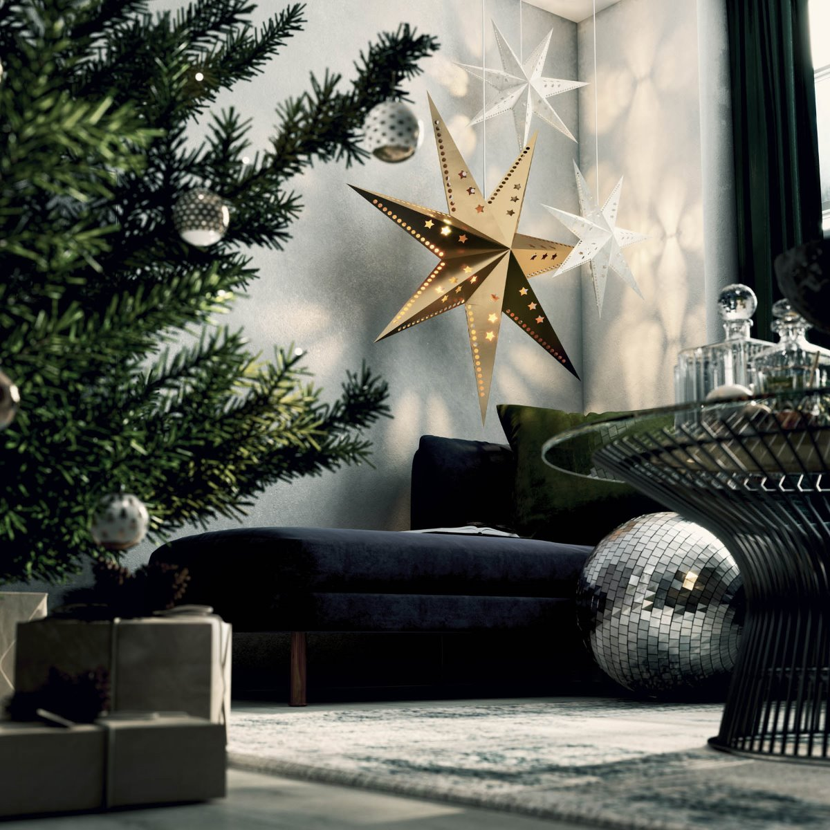 modern interior design styling christmas room set